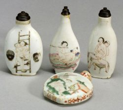 Lot of Four Erotic Snuff Bottles