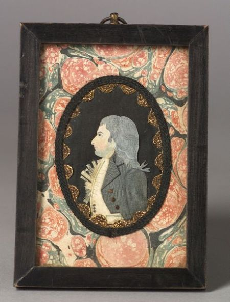 Attributed to Mary Way (New London and New York, 1769-1833)  Dressed Miniature Portrait of a Gentleman.