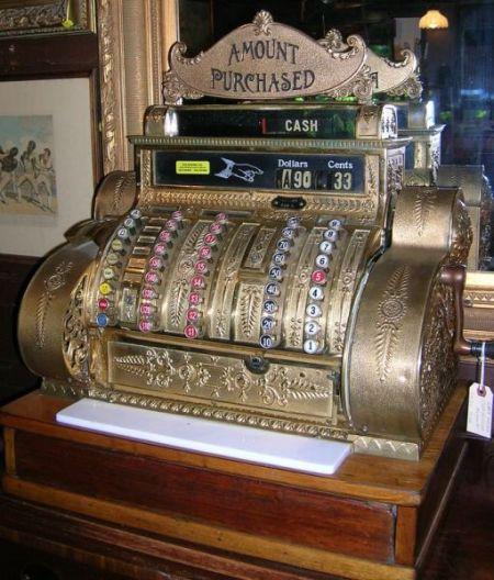 National Cash Register Company Gilt Brass Plated Cast Metal and Mahogany Cash Register
