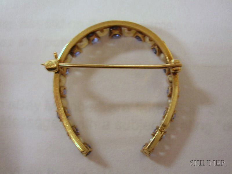 14kt Gold, Sapphire and Pearl Horseshoe Brooch, ht. 1 1/4 in.