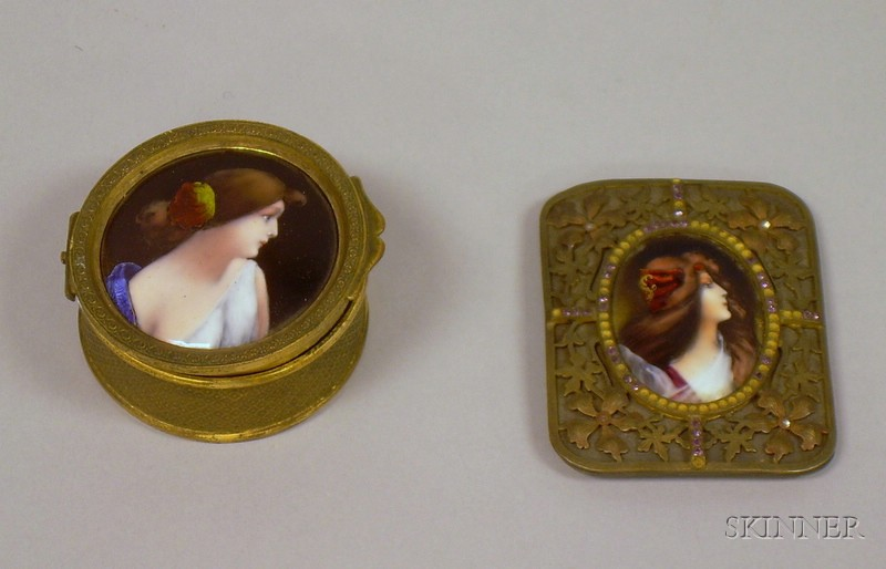 French Enamel Portrait Mounted Gilt-metal Buckle and Trinket Box.