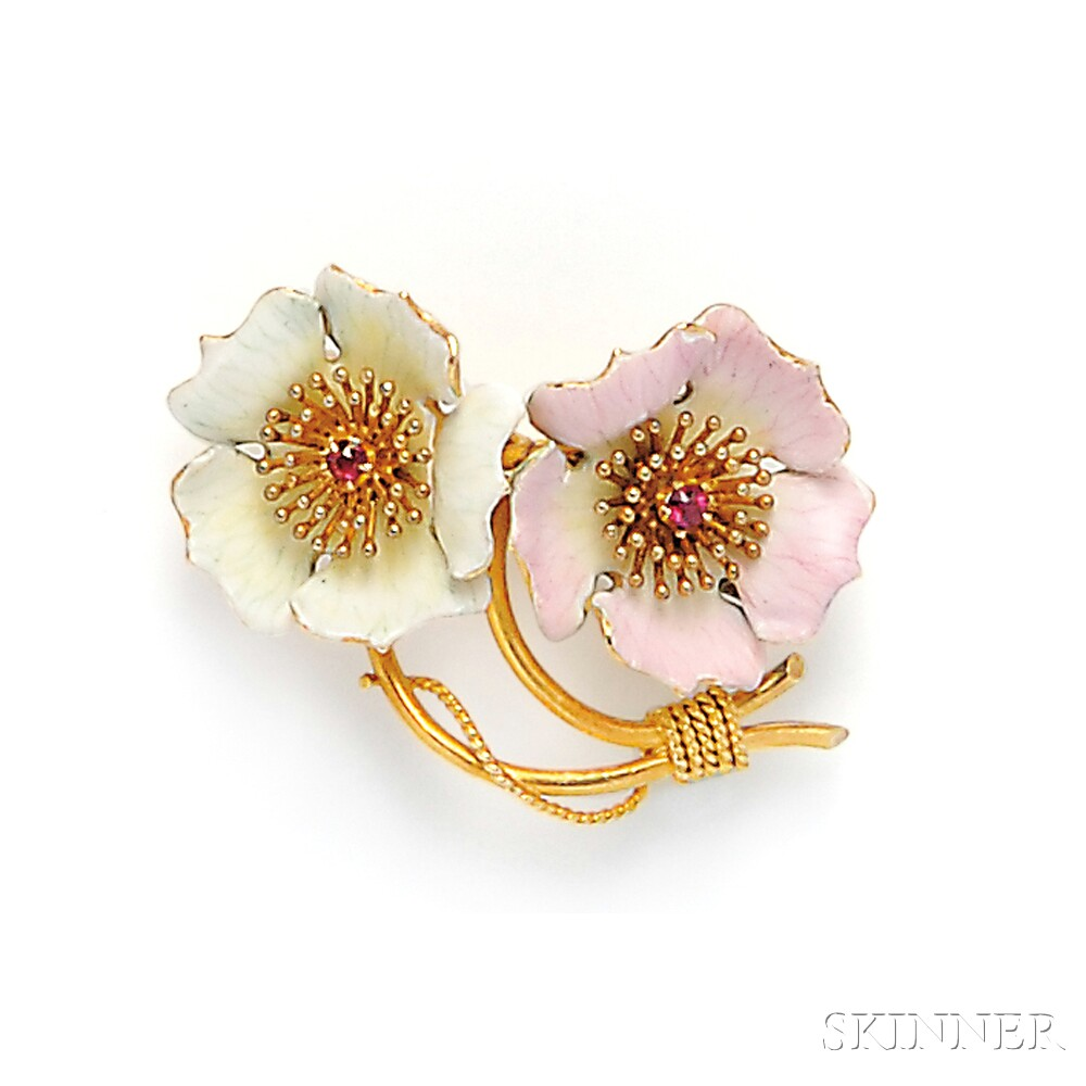 Two Gold and Enamel Flower Brooches