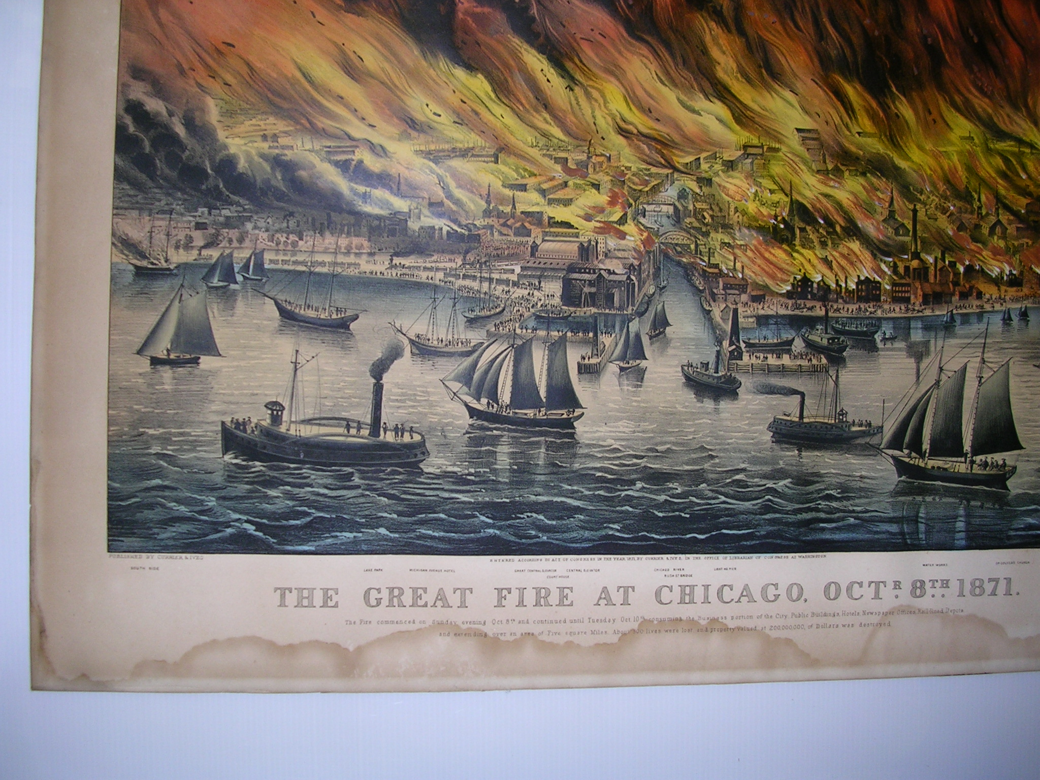 Currier & Ives, publishers (American, 1857-1907)      THE GREAT FIRE AT CHICAGO, OCT.R 8TH 1871.