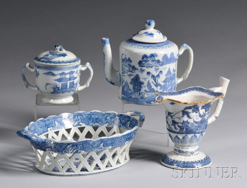 Three Blue and White Chinese Export Porcelain Table Items and a   Pearlware Pottery Oval Basket