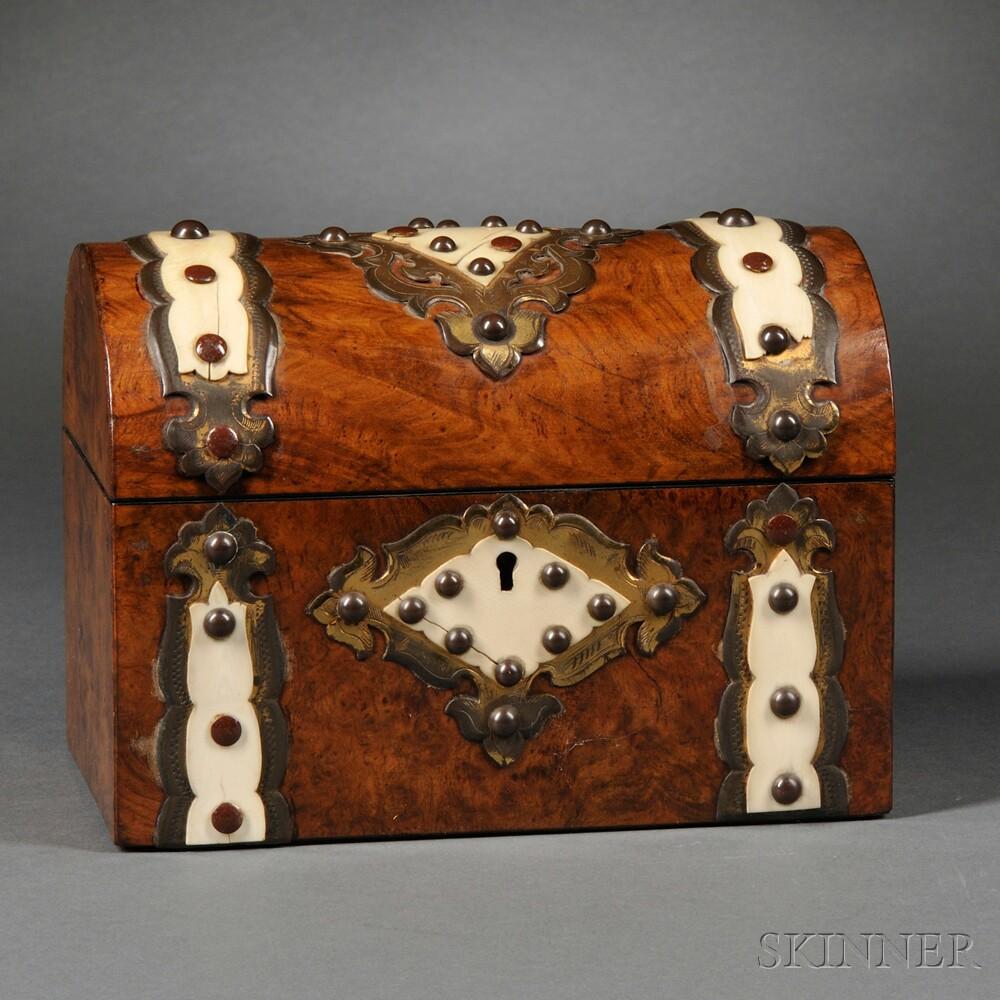 Burlwood, Ivory, and Brass Tea Caddy