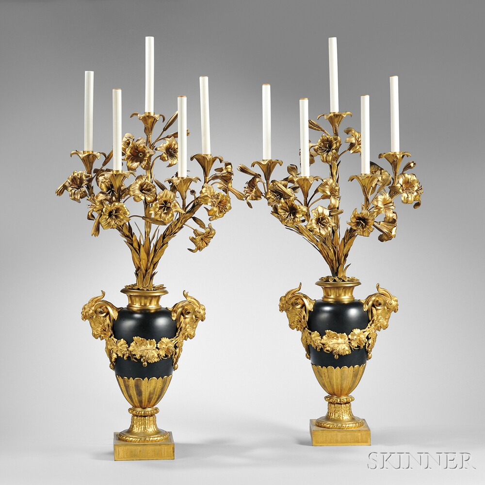 Pair of Louis XVI-style Ormolu and Painted Metal Five-light Candelabra