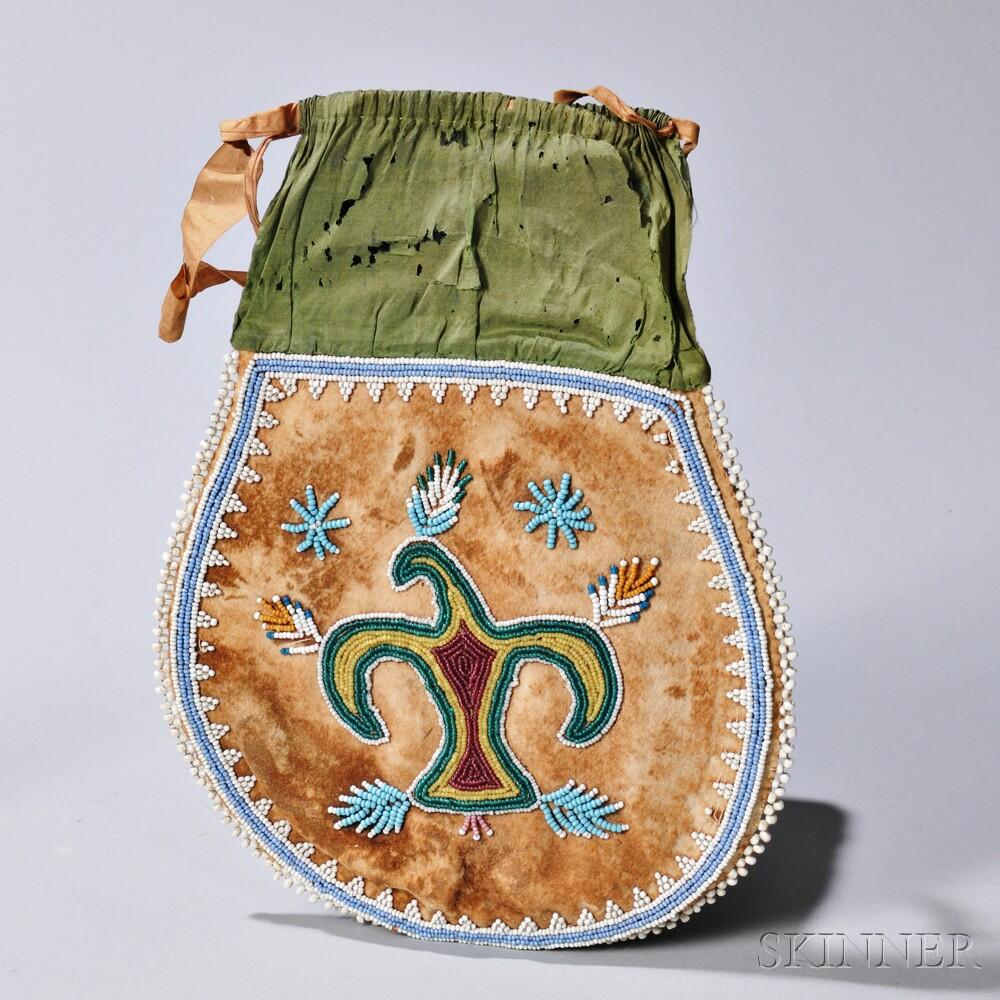 Northeast Beaded Bag with Thunderbird Motif