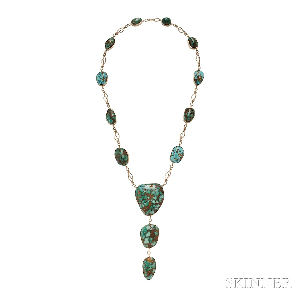 Southwest 14kt Gold and Turquoise Necklace