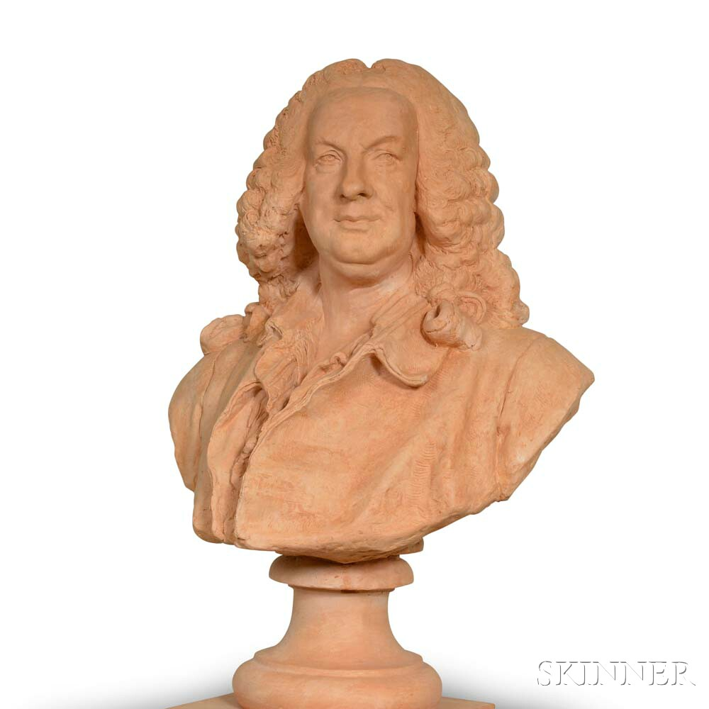 Plaster Pedestal and Bust of French Composer Jean-Philippe Rameau