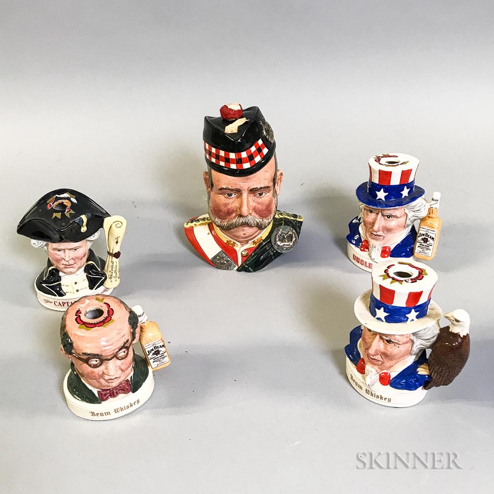 Five Royal Doulton Ceramic Figural Jim Beam and Grant's Flasks