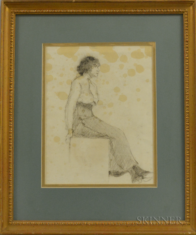 Rita Mount (Canadian, 1888-1967)      Double-sided Portrait of Gertrude: Full-length Seated