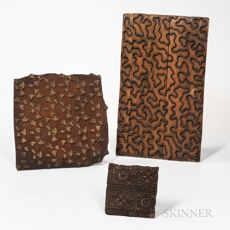 Three Wallpaper or Textile Printing Blocks