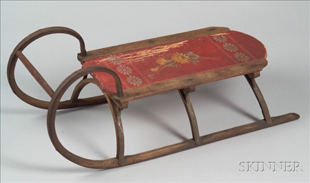 Painted Child's Wood and Iron Sled