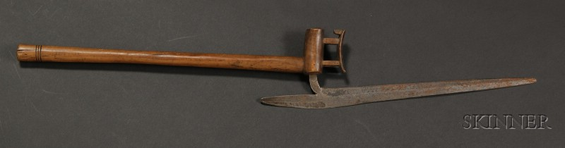 African Carved Wood and Metal Axe