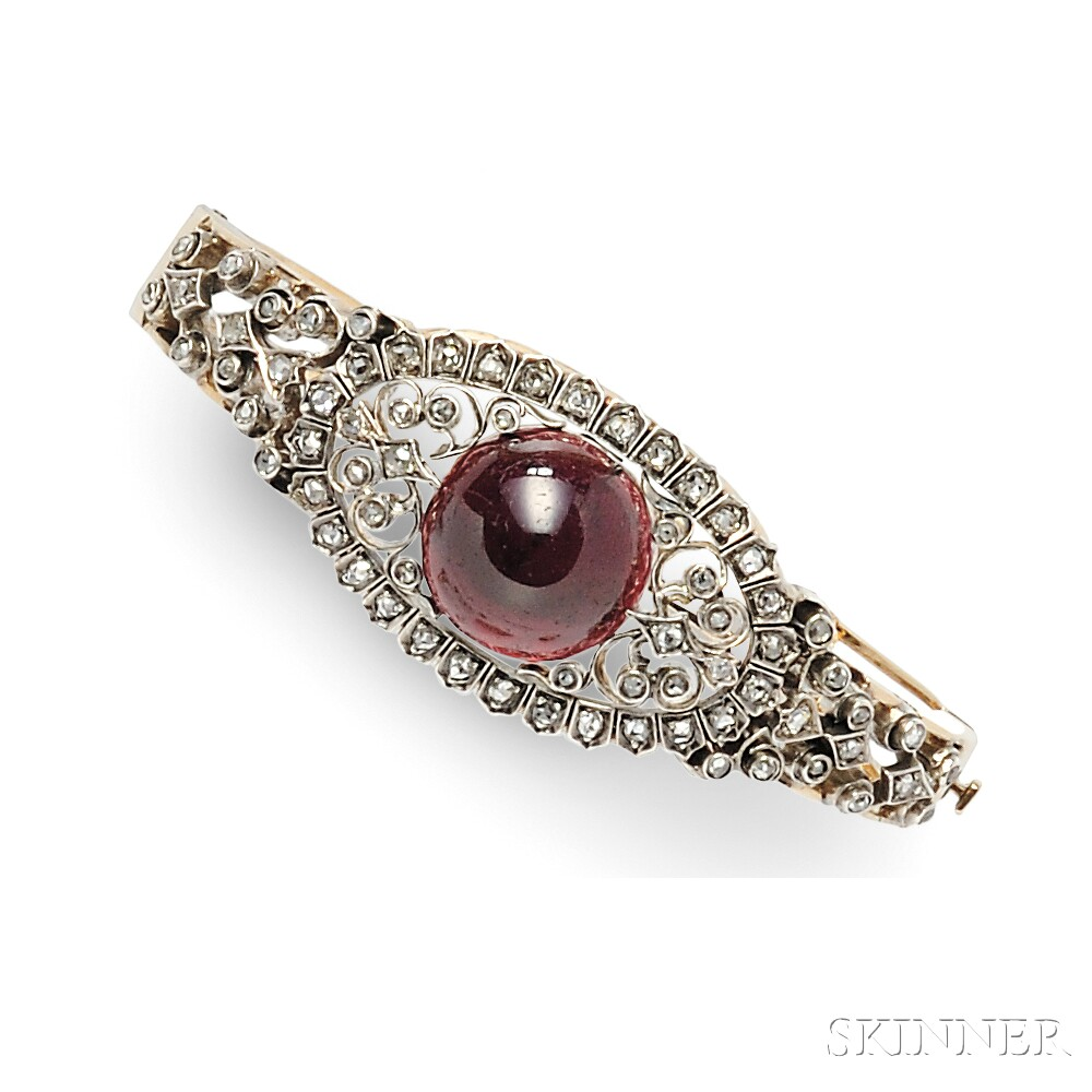 Garnet Carbuncle and Diamond Bracelet