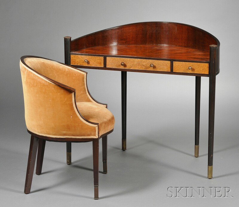 Art Deco Demilune Desk and Chair