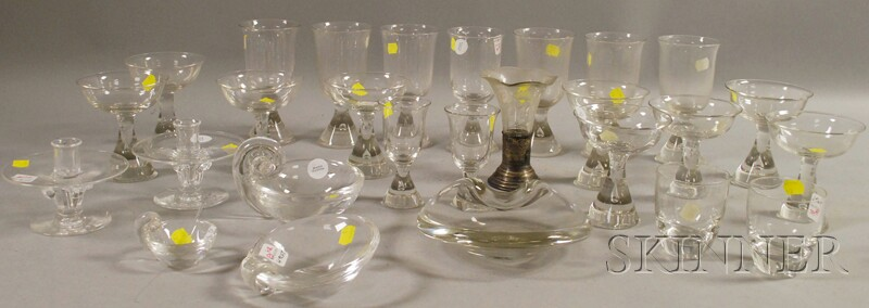 Twenty-three Pieces of Steuben Glass Tableware with Six Other Glass Table Items