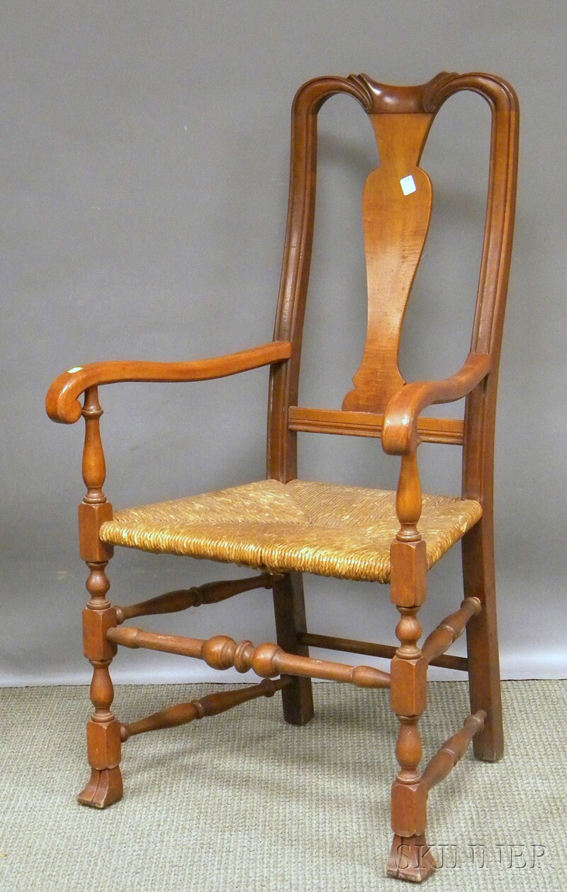 Stickley Queen Anne-style Cherry and Tiger Maple Armchair with Woven Rush Seat.