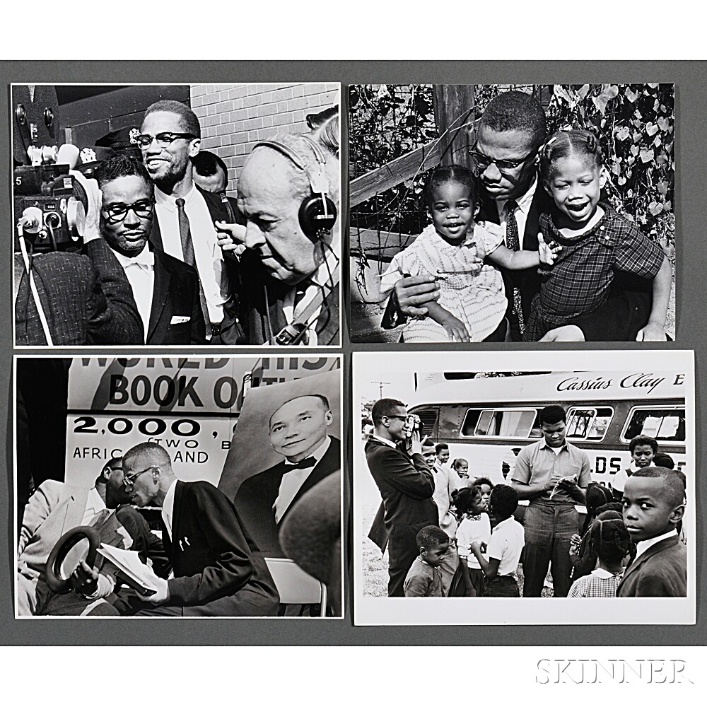 Malcolm X (1925-1965) and Others, Twelve Photographs Taken by Robert Haggins (1922-2006)