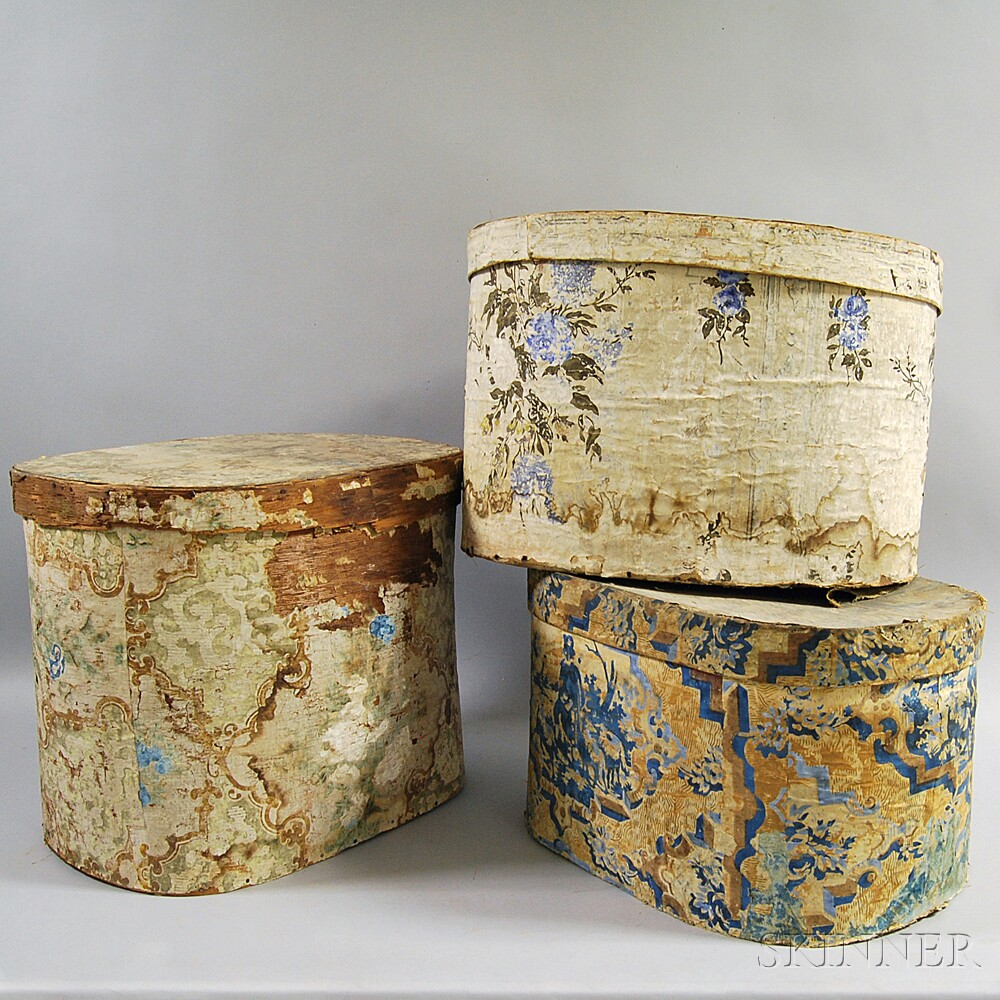 Three Large Wallpapered Band Boxes