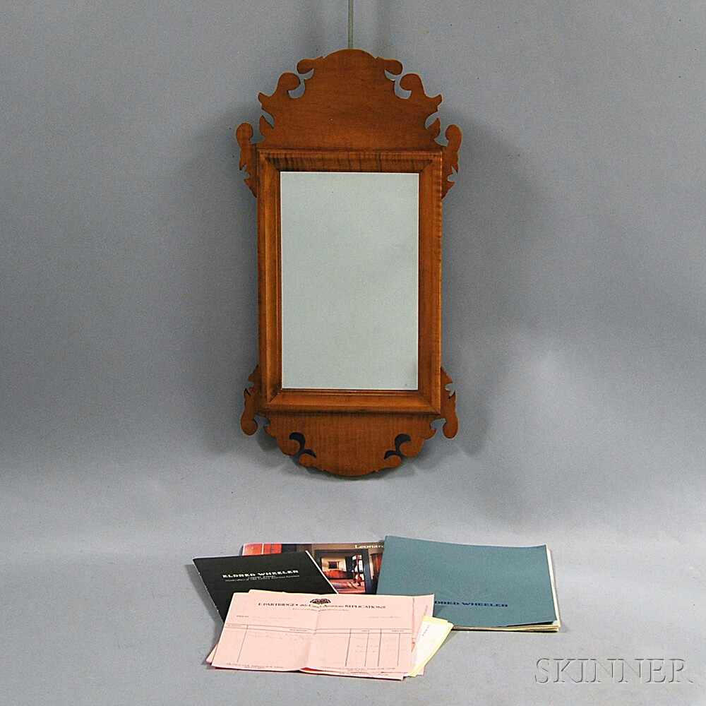 Small Eldred Wheeler Chippendale-style Tiger Maple Scroll-frame Mirror