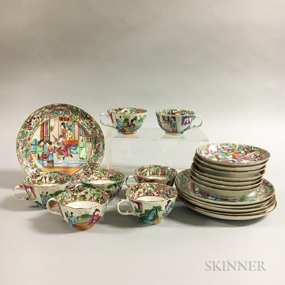 Twenty Rose Medallion Porcelain Tableware Items