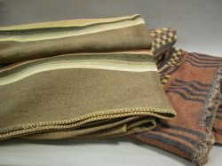 Two Striped and Linear Pattern Wool Blankets.