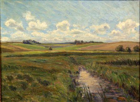 Jensenius Jacobsen (Danish, 1883-1955)    Running Stream, Open Pasture