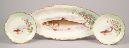 Limoges Transfer Decorated Porcelain Fish Service