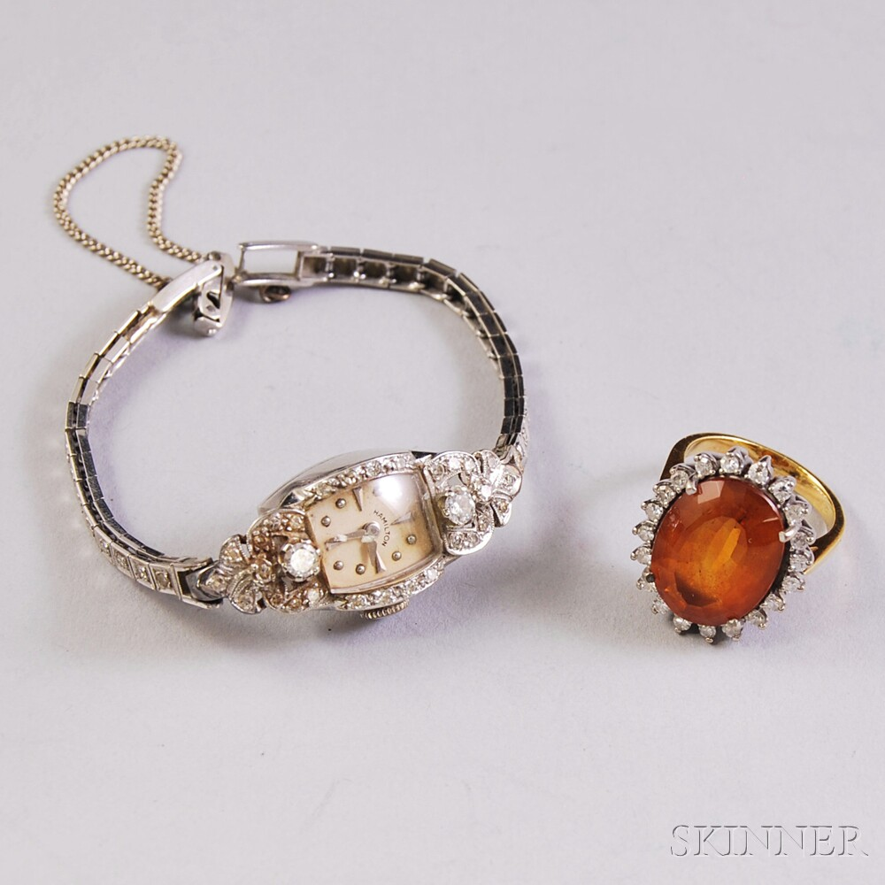 Two Gold Gem-set Jewelry Items