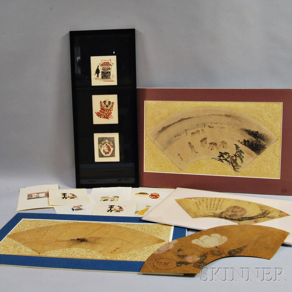 Ten Serizawa Keisuke (1895-1984) Stencil-dyed Prints and Four Fan Paintings
