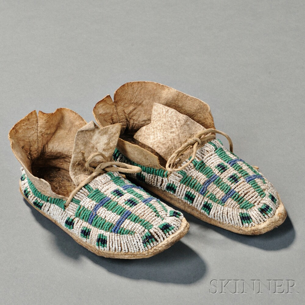 Pair of Cheyenne Beaded Hide Child's Moccasins
