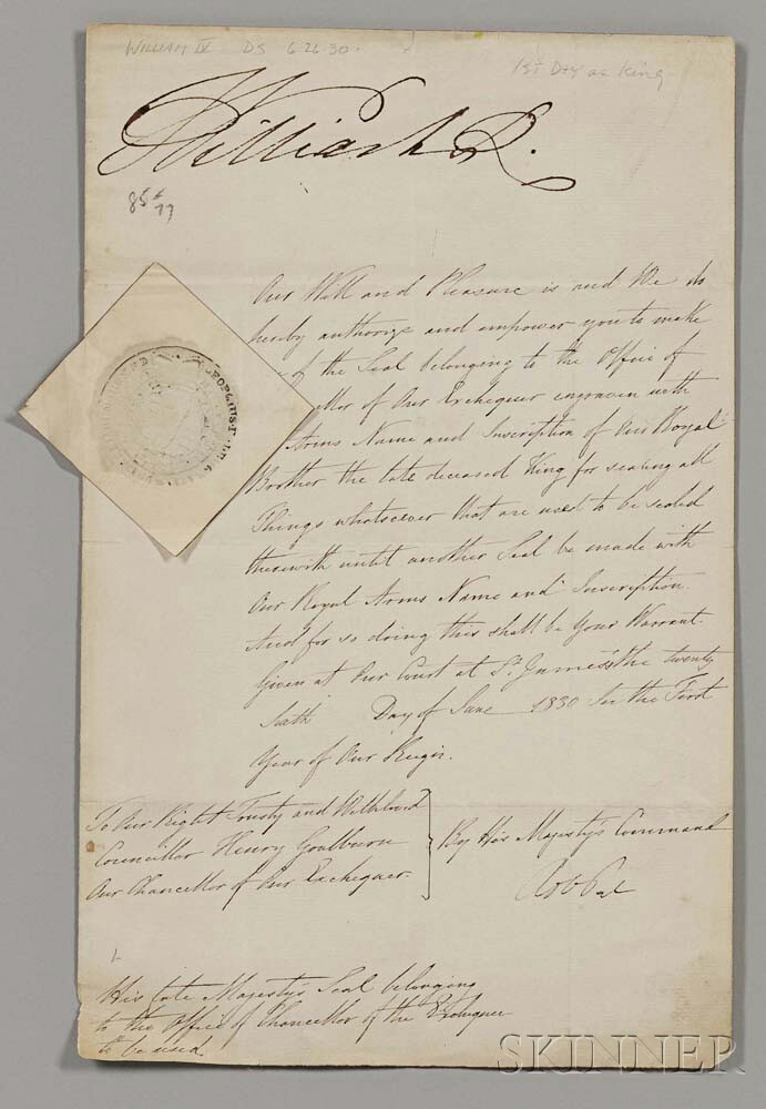 William IV of the United Kingdom (1765-1799) Document Signed, 26 June 1830.
