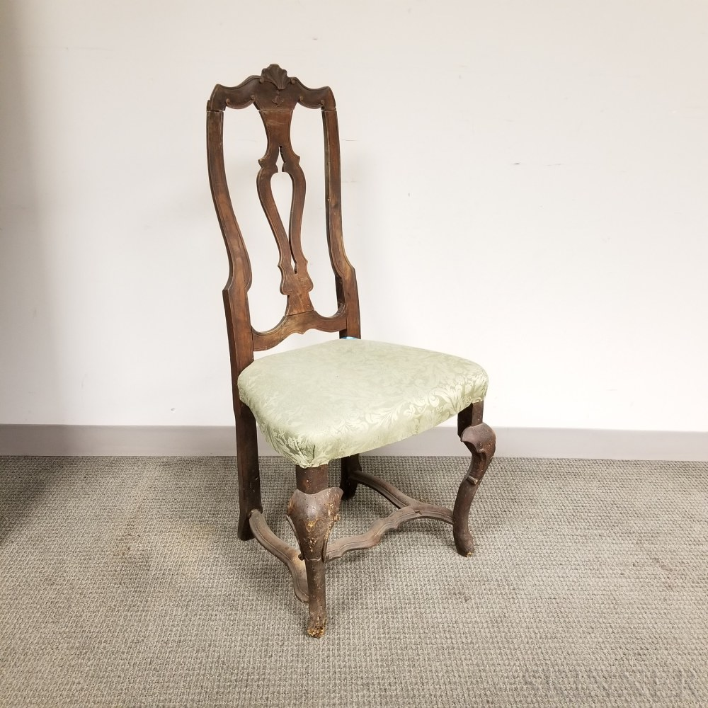 Continental Rococo Upholstered and Carved Walnut Side Chair