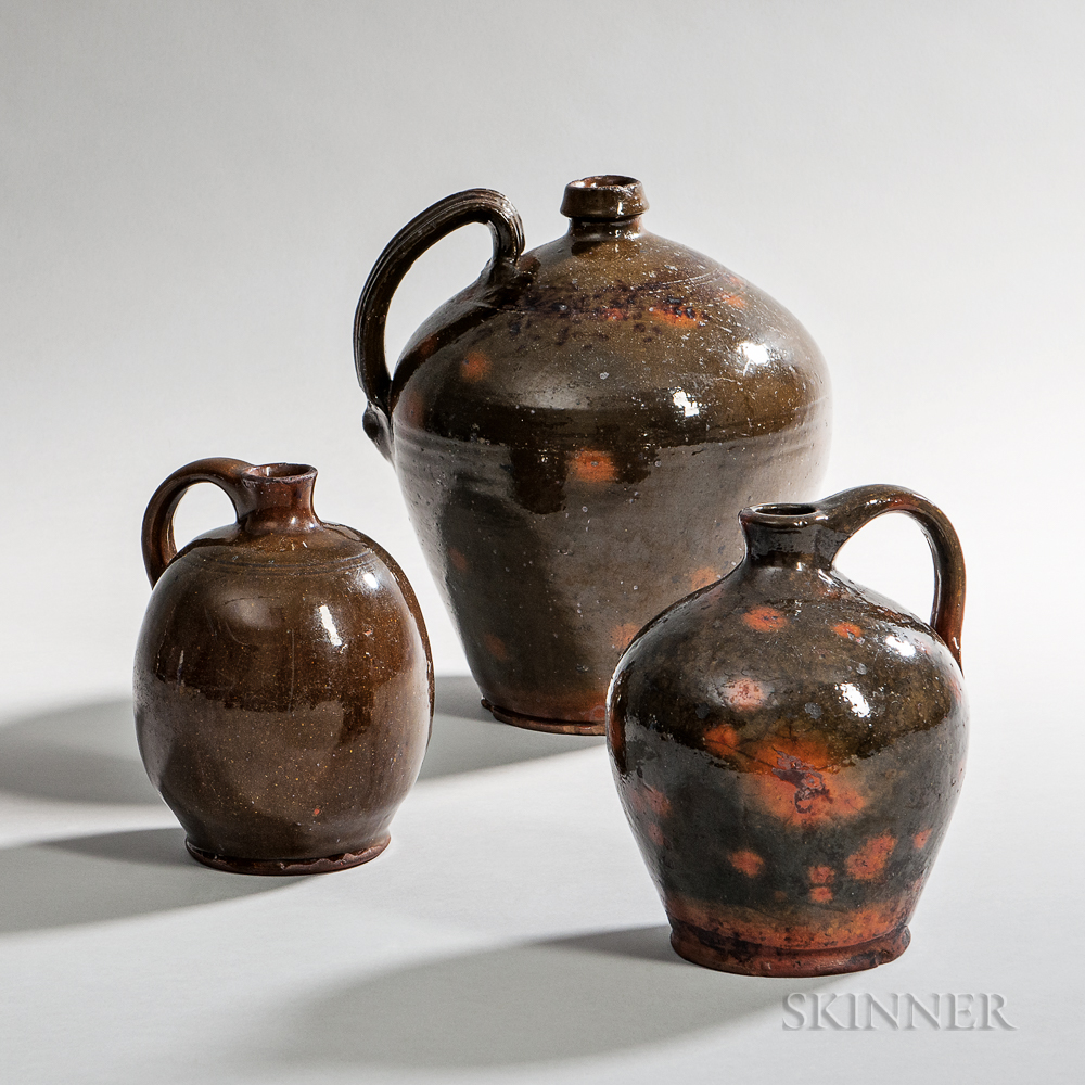 Three Redware Jugs