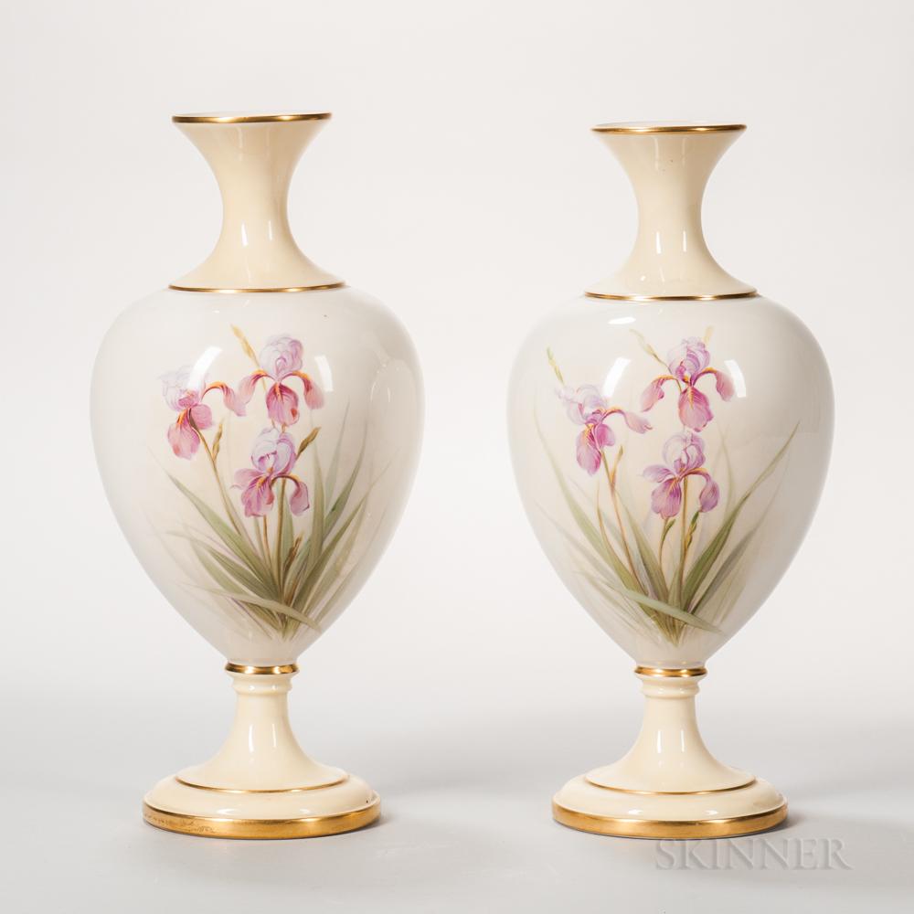 Pair of Lenox Porcelain Hand-painted Vases