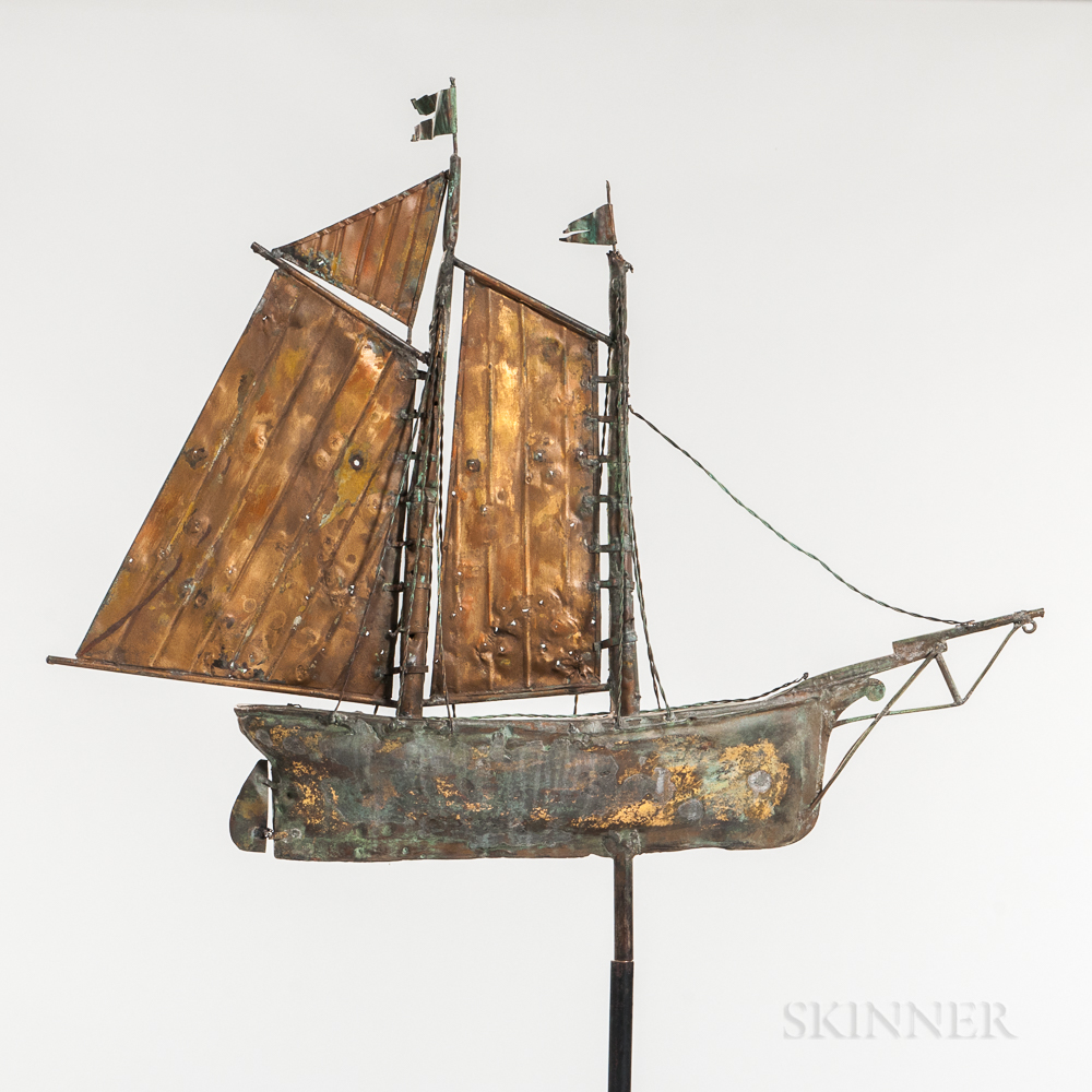 Molded and Sheet Copper Two-masted Schooner Weathervane
