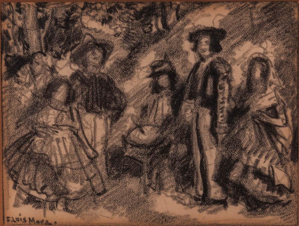 Francis Luis Mora (American, 1874-1940)      Group of Spanish Figures