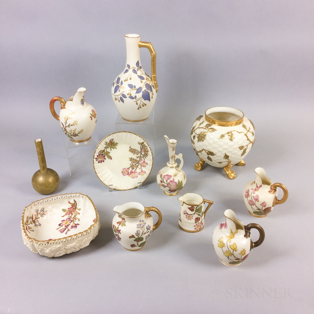 Eleven Pieces of Royal Worcester Floral-decorated Porcelain Tableware