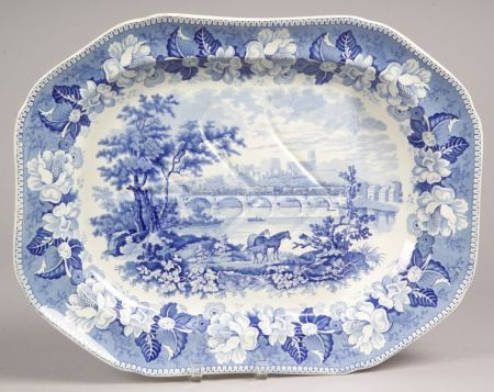 Rogers Blue and White Transfer Decorated Scenic Staffordshire Well and Tree Platter