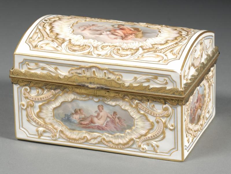 French Porcelain Jewelry Casket