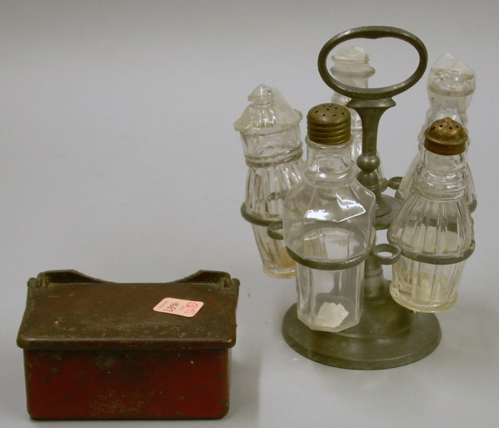 Trask Pewter Five Bottle Caster Set and an Iron lift-top Inkwell