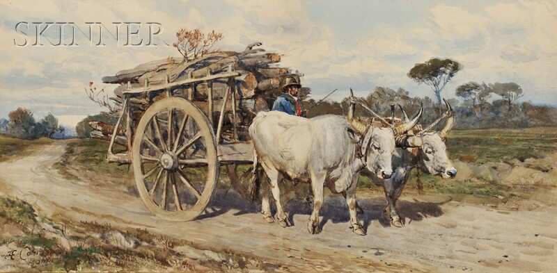 Henry Enrico Coleman (Italian, 1846-1911)      Ox Cart Carrying Logs