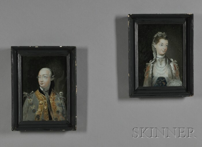 Pair of Reverse-paintings on Glass of King George III and Queen Charlotte