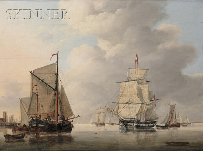 Jan Hendrik Boshamer (Dutch, b. 1775)      Vessels in a Calm Port