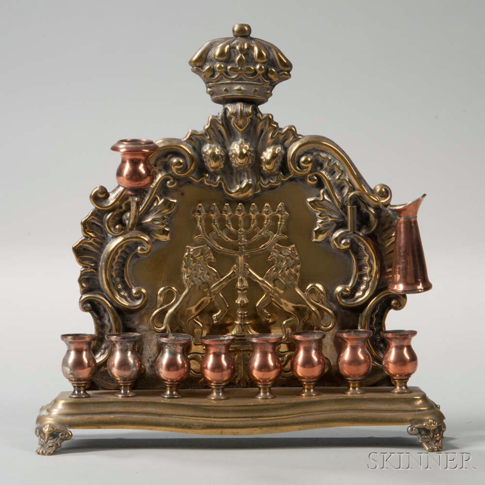 Polish Brass and Copper Hanukkah Lamp