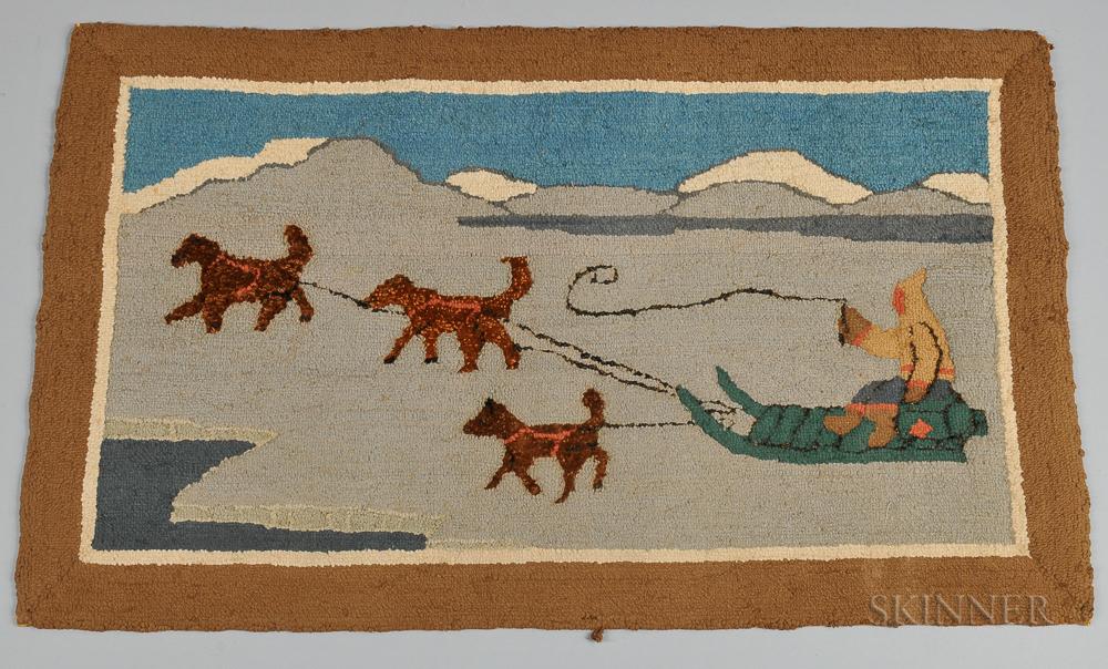 Dog Sledding Hooked Mat