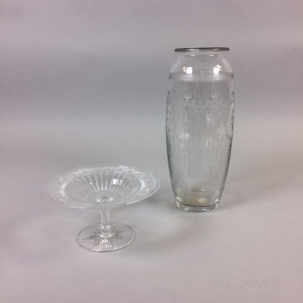 Hawkes Etched Colorless Glass Compote and Vase
