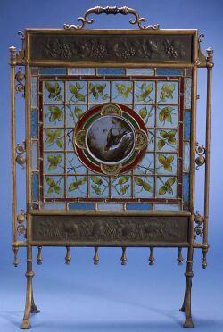 Aesthetic Movement Stained Glass and Brass Firescreeen
