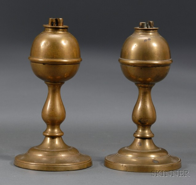 Pair of Small Brass Whale Oil Lamps